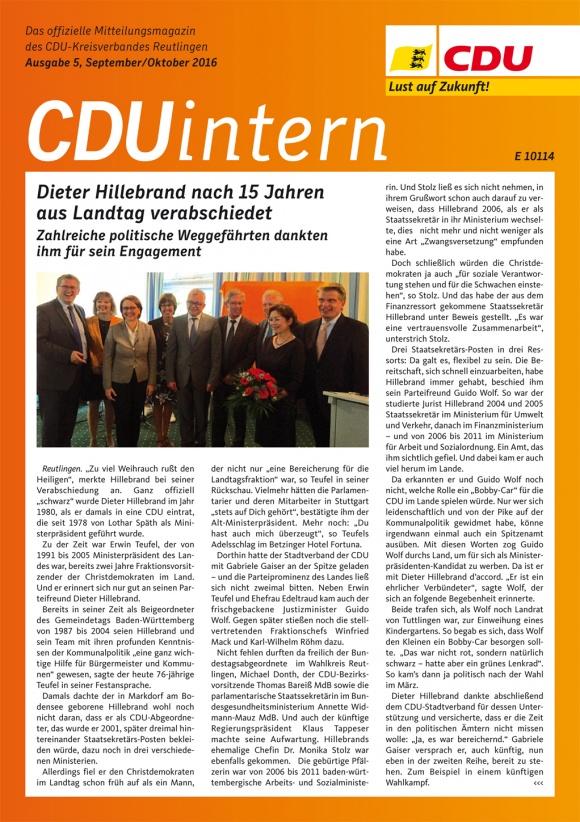 CDU Intern - Ausgabe 5 / 2016