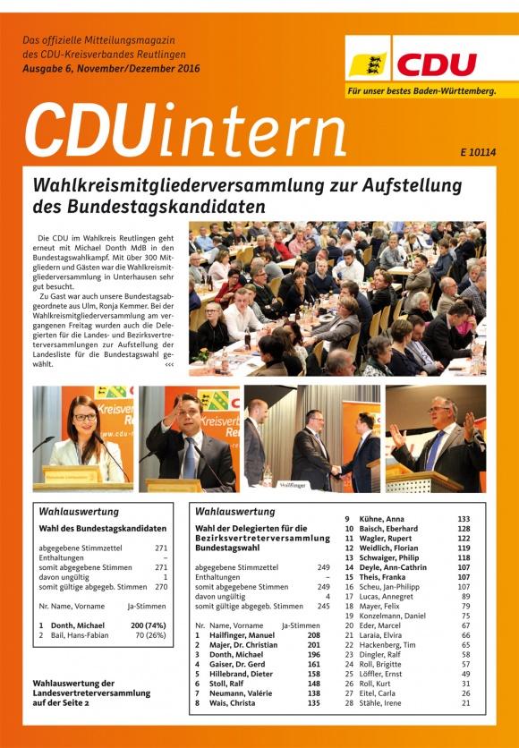 CDU Intern - Ausgabe 6 / 2016