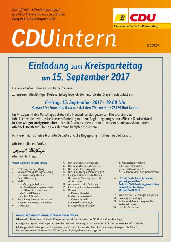 CDU Intern - Ausgabe 4 / 2017