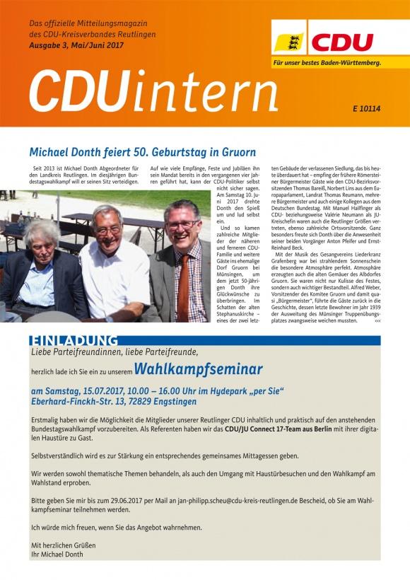 CDU Intern - Ausgabe 3 / 2017
