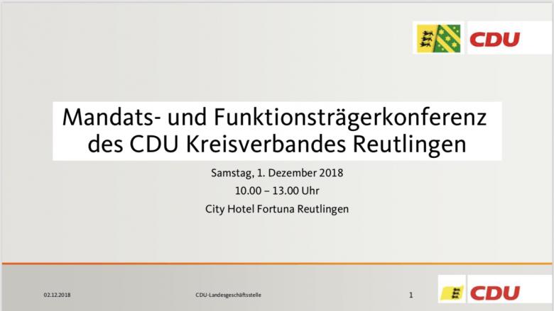Präsentation zur Mandats- und Funktionsträgerkonferenz am 1. Dezember 2018 in Reutlingen