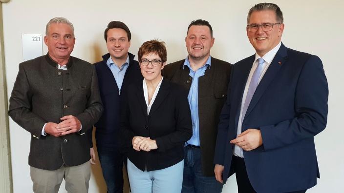 Thomas Strobl, Manuel Hailfinger, Annegret Kramp-Karrenbauer, Ralf Stoll und Michael Donth