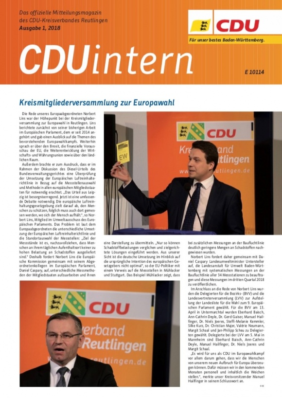 CDU Intern - Ausgabe 1 / 2018