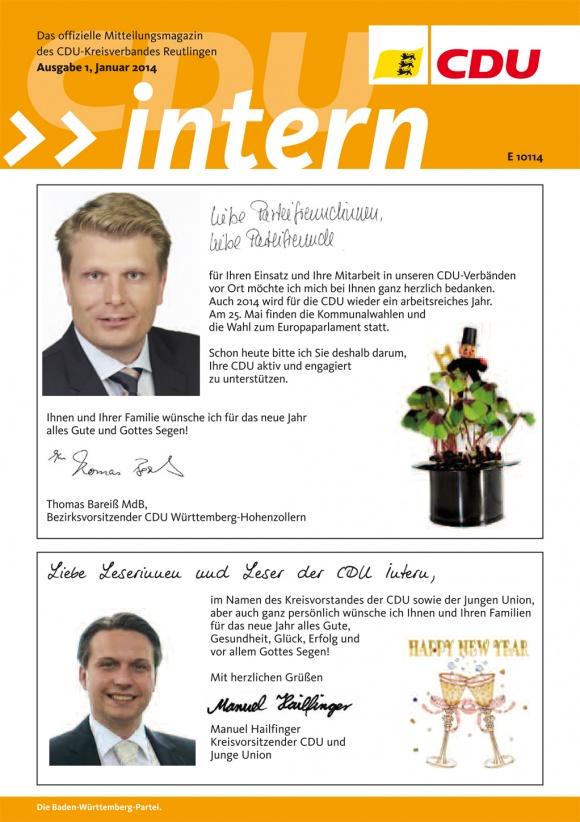 CDU Intern - Ausgabe 1 / 2014