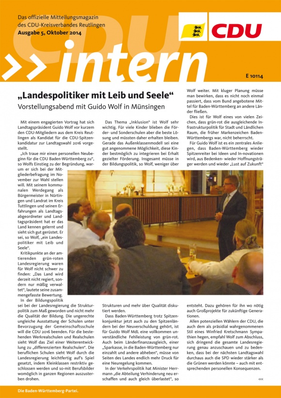 CDU Intern - Ausgabe 5 / 2014