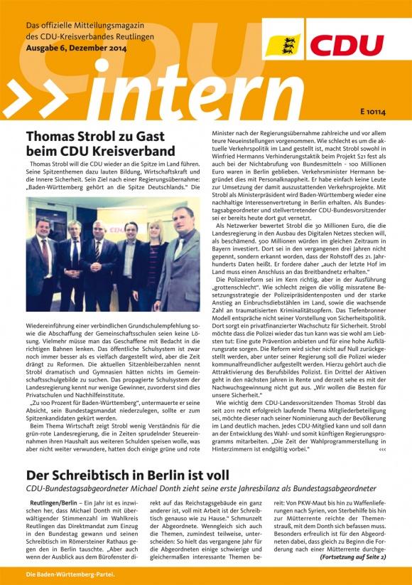 CDU Intern - Ausgabe 6 / 2014