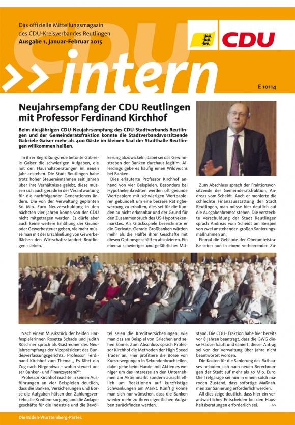 CDU Intern - Ausgabe 1 / 2015