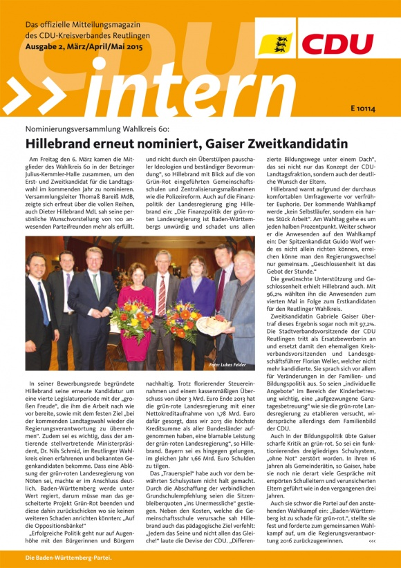 CDU Intern - Ausgabe 2 / 2015