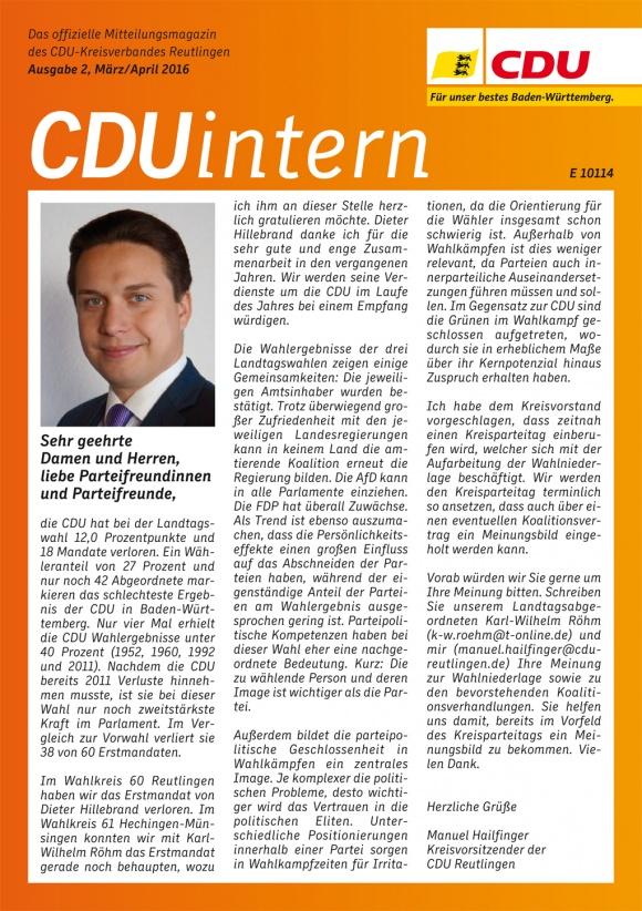 CDU Intern - Ausgabe 2 / 2016