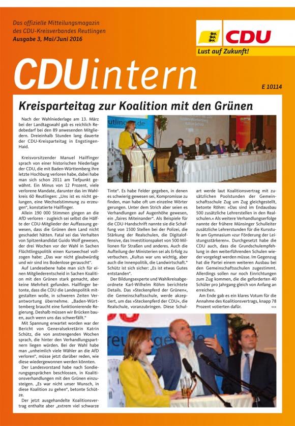 CDU Intern - Ausgabe 3 / 2016