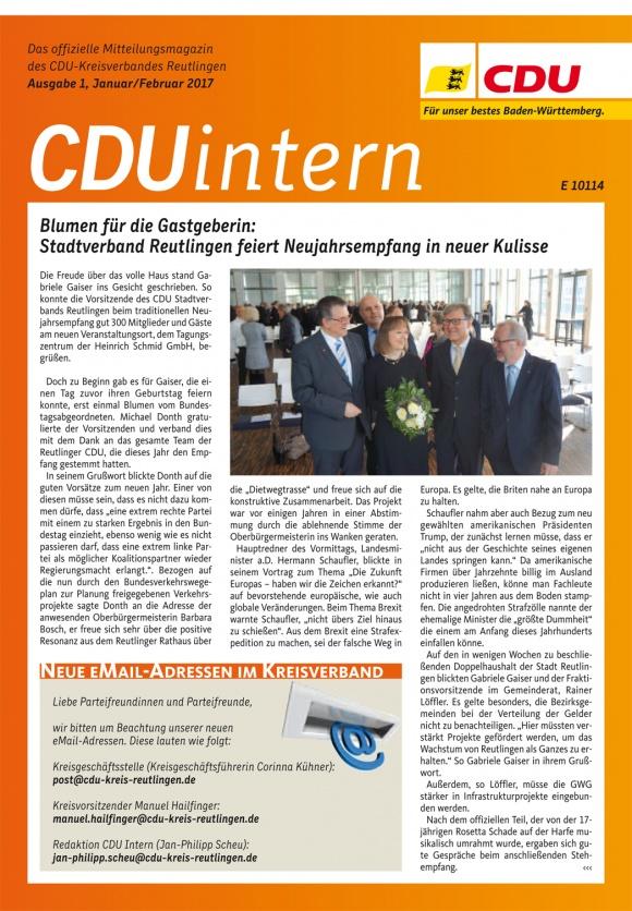 CDU Intern - Ausgabe 1 / 2017
